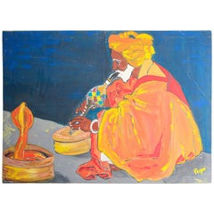 Oil Painting of an Indian Snake Charmer