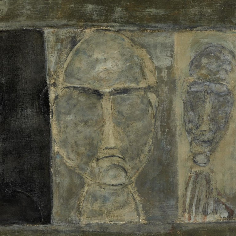 Oil painting of busts from France, circa 1950.