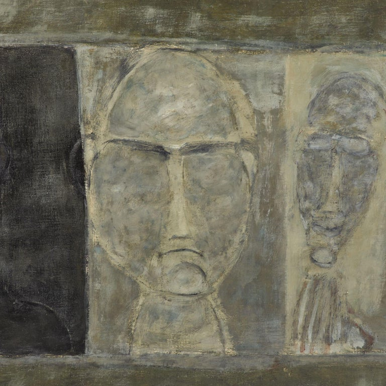 Oil Painting of Busts from France, circa 1950 In Good Condition For Sale In Los Angeles, CA