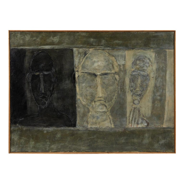 Oil Painting of Busts from France, circa 1950 For Sale