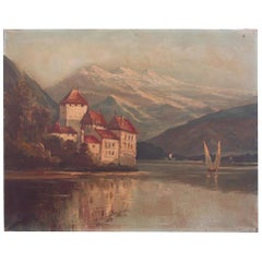Oil Painting of Lake Geneva 19th Century Oil on Canvas Signed