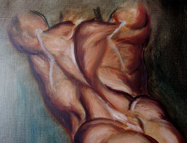 An oil painting in the grand classical and historical style of a strong, masculine, heroic character, this painting from the 1970s is an example of the more defined, bodybuilder-type male body.  This painting explodes with energy and