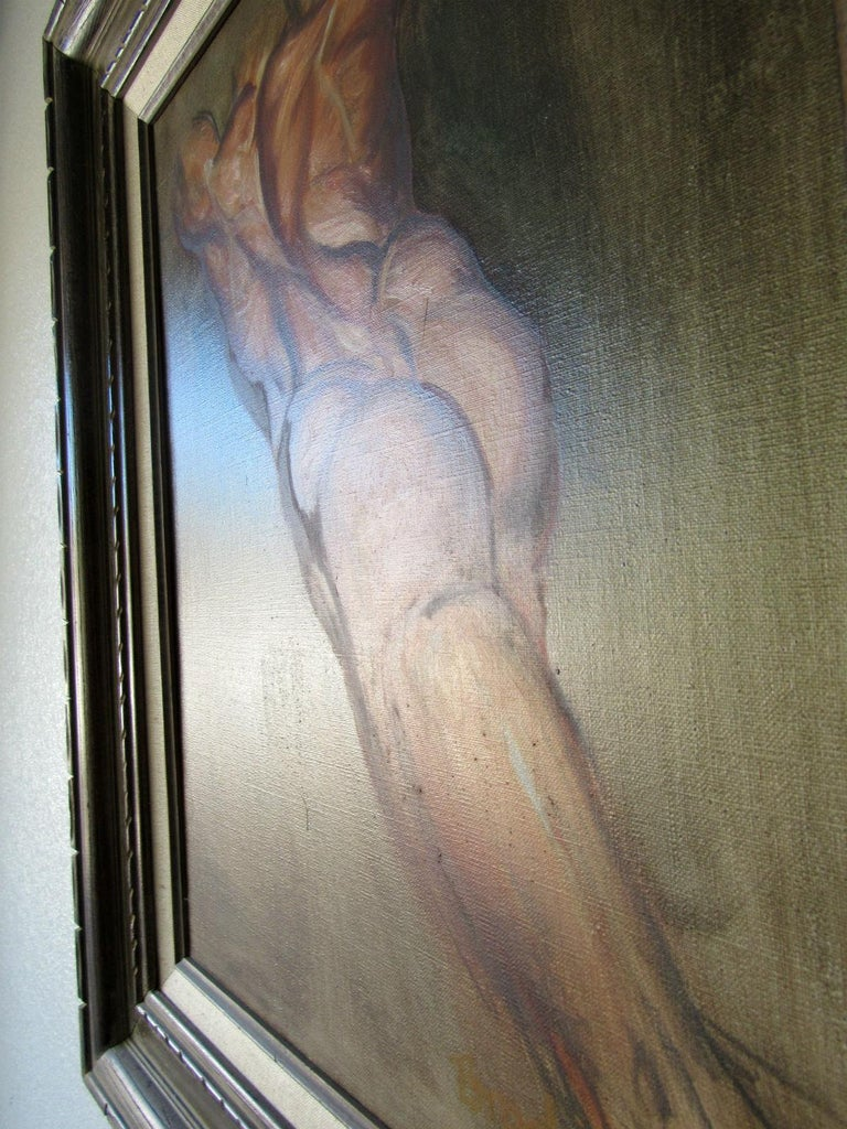 20th Century Male Nude Oil Painting by California Artist Bill Brootip 1970s For Sale