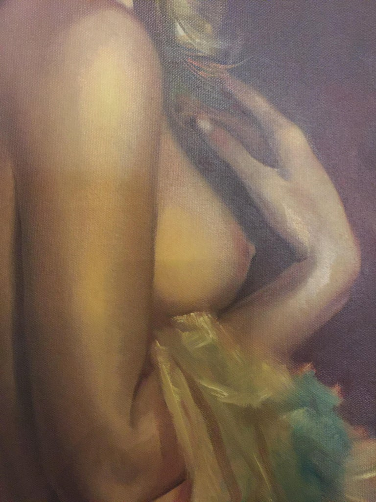 Oil painting of nude woman by Leo Jansen. Born in the Netherlands, moved to the Dutch East Indies (Indonesia) when he was ten. There in the tropics, he began his craft by sketching bronze-skinned Indonesian girls for leisure. He returned to the