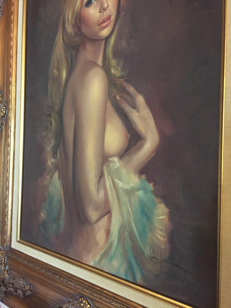 Mid-20th Century Oil Painting of Nude Woman by Leo Jansen For Sale