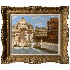 Oil Painting of Ponte Saint Angelo, Signed