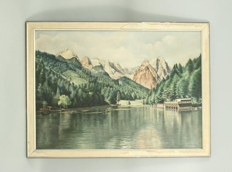 Oil painting Of Rissersee, Germany. A very scenic oil painting of Rissersee, a lake in Grainau near Garmisch - Partenkirchen, surrounded by the Bavarian Alps. Painted by the German artist Karl Walther (1880–1954). It sits right at the foot of the