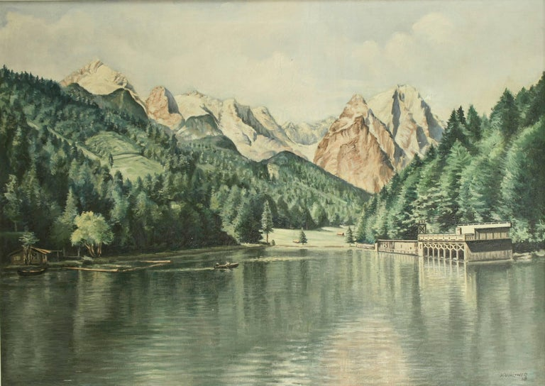Sporting Art Vintage Oil Painting of Rissersee, Bavaria by Karl Walther For Sale