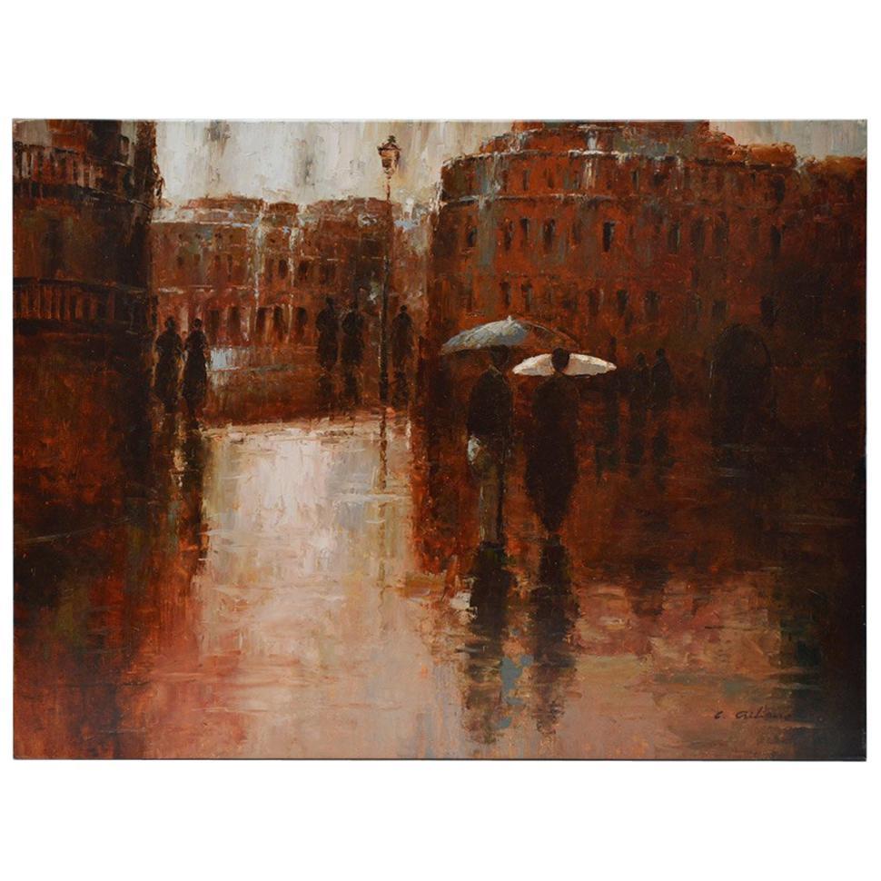 Oil Painting of Street Scene of Couple on Raining Paris Day