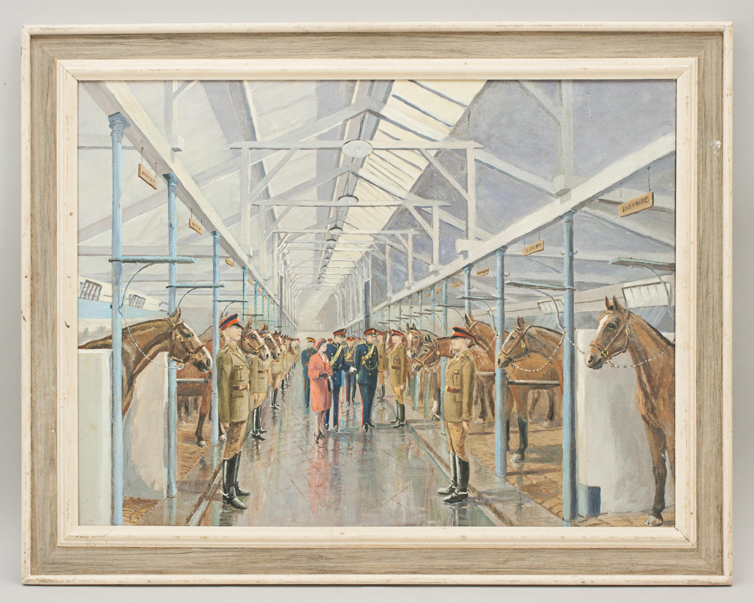 Oil Painting Of The Queens Visit To The Kings Royal Artillery Horse Troop For Sale At 1stdibs