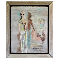 1940's Expressionist Oil Painting of Two Women