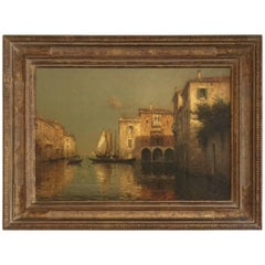 Oil Painting of Venice by Antoine Bouvard, circa 1930s