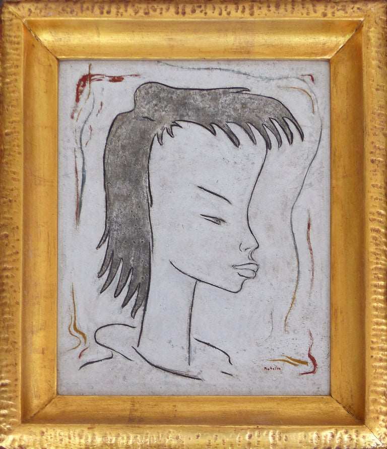 Angel Botello Abstract Oil Painting on Board, Latin Artist  Offered for sale is an oil painting on board by Spanish/Puerto Rican artist Angel Botello (June 20, 1913 – November 11, 1986). The work is presenred a hand carved frame by Teofilo Batista