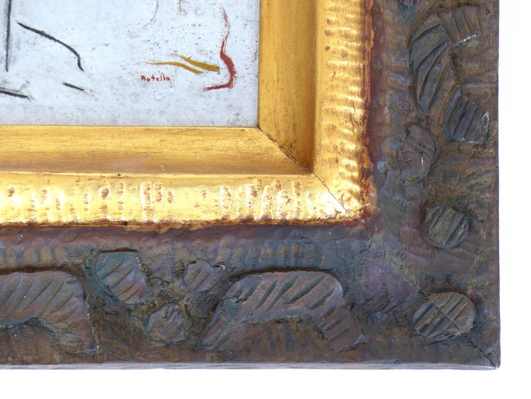 Carved Angel Botello Abstract Oil Painting on Board, Latin Artist For Sale