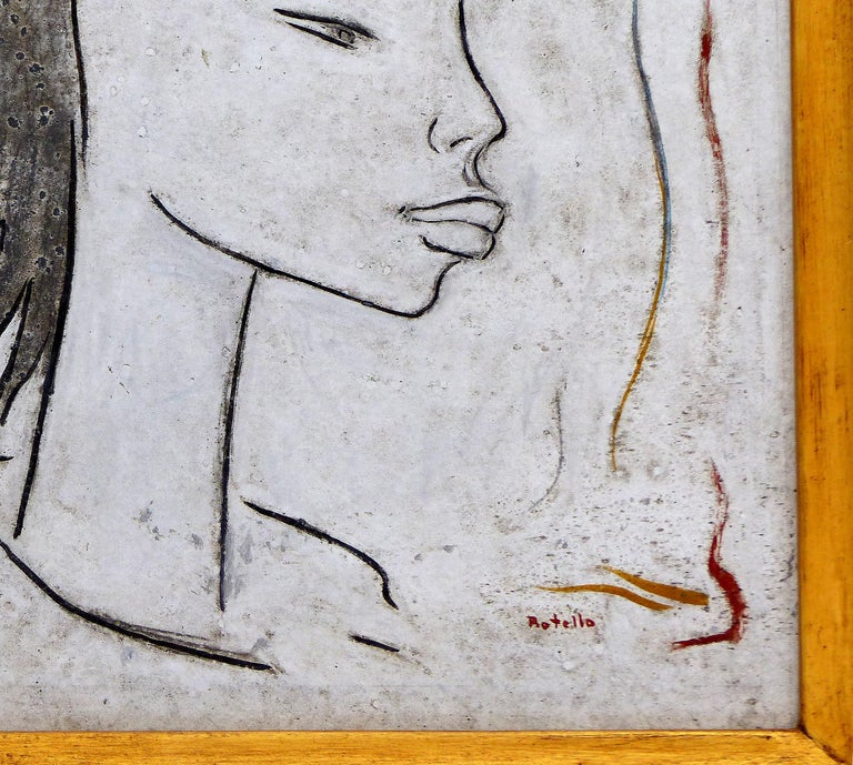 20th Century Angel Botello Abstract Oil Painting on Board, Latin Artist For Sale