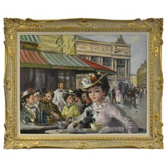 "Oil Painting on Board ""Cafe Paix"" French Street Cafe Scene Lady in Hat"