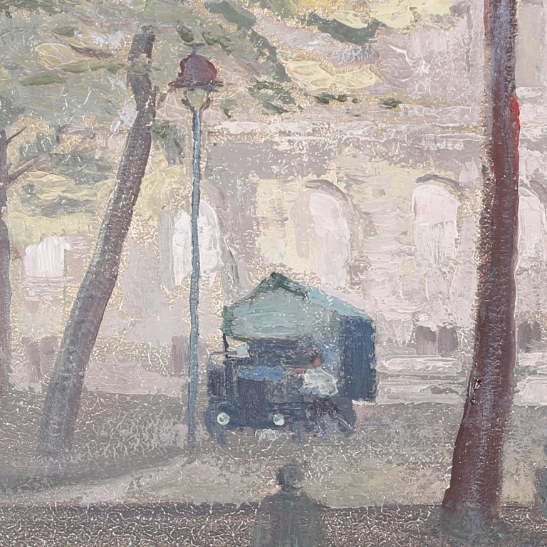 French Provincial Oil Painting on Board of a Paris Street Scene For Sale