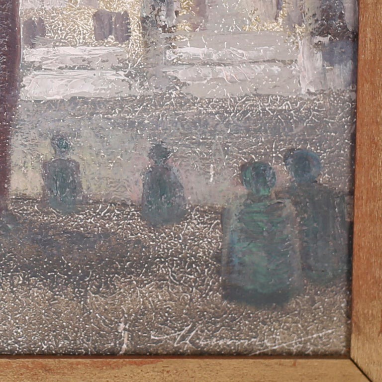 French Oil Painting on Board of a Paris Street Scene For Sale