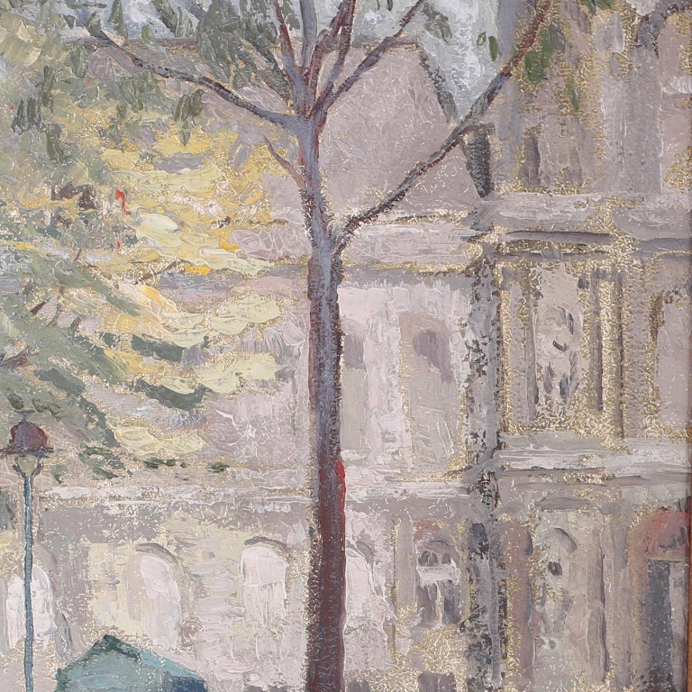 Oil Painting on Board of a Paris Street Scene In Good Condition For Sale In Palm Beach, FL