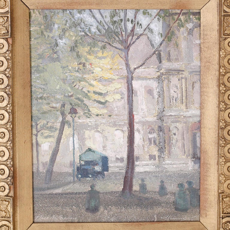 20th Century Oil Painting on Board of a Paris Street Scene For Sale