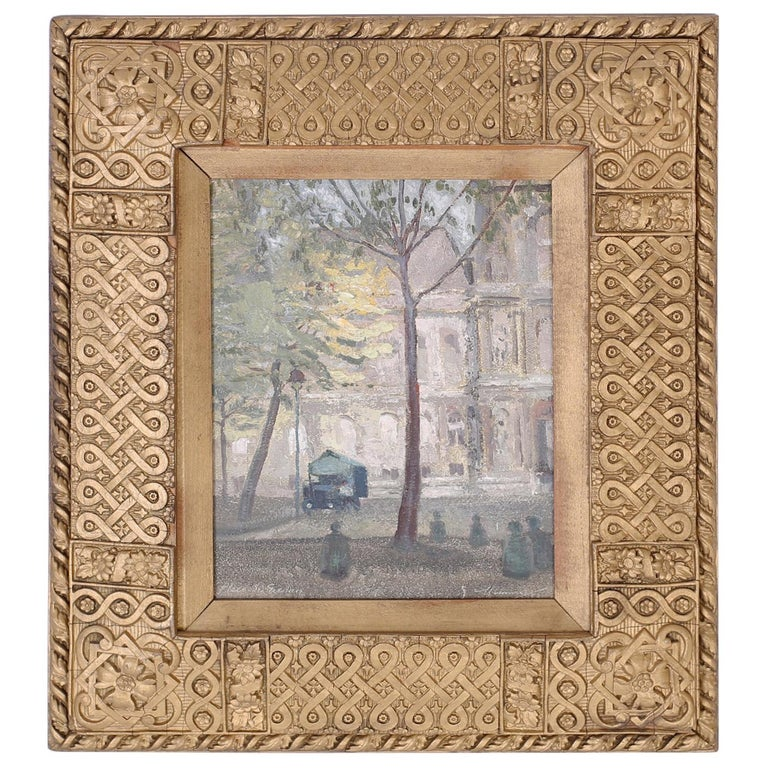 Oil Painting on Board of a Paris Street Scene For Sale
