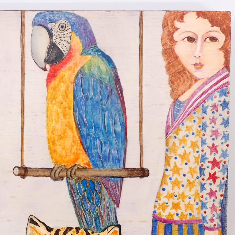 Modern Oil Painting on Board of People, Animals and Birds For Sale