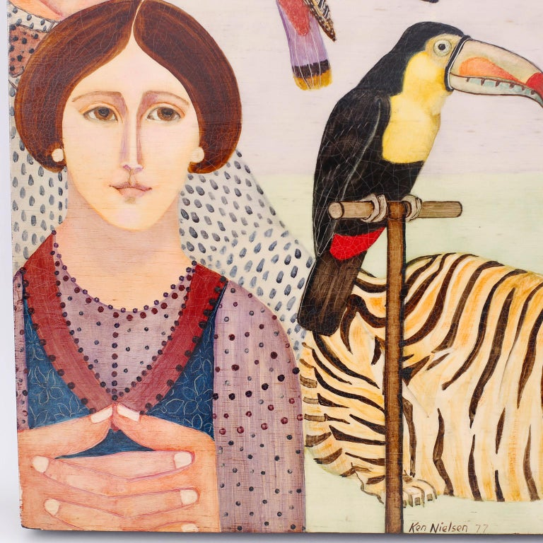 Hand-Painted Oil Painting on Board of People, Animals and Birds For Sale