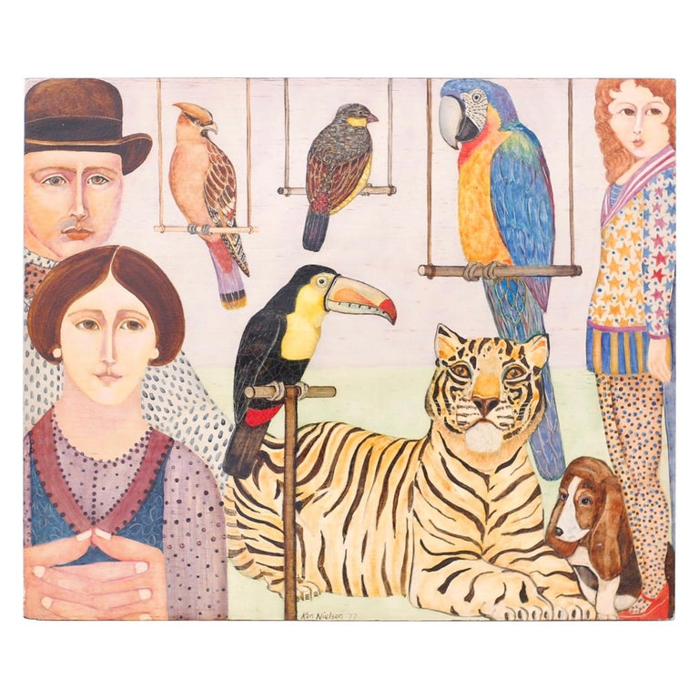 Oil Painting on Board of People, Animals and Birds For Sale