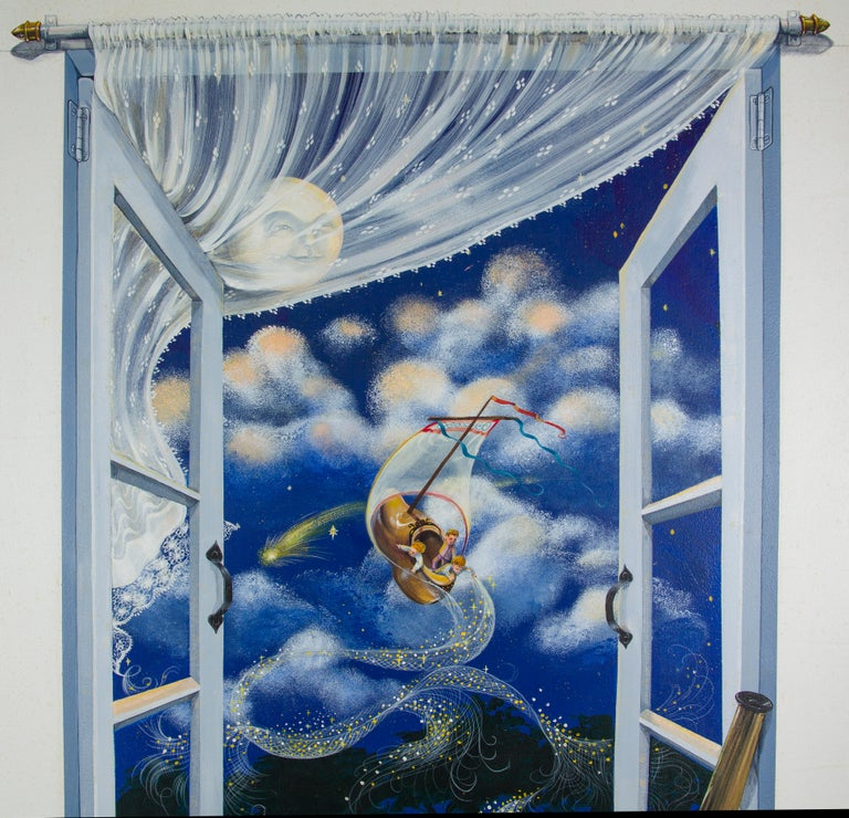 Oil Painting on Board Peter Pan 1986 by Margot Datz, Marthas Vineyard Artist For Sale 1