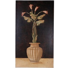 Oil Painting on Burlap of Lily Flowers