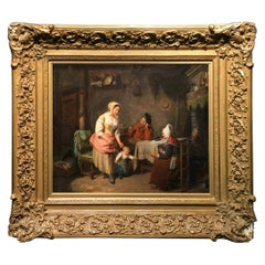 Oil Painting on Canvas Depicting Inside Scene Signed Pierre Duval Le Camus