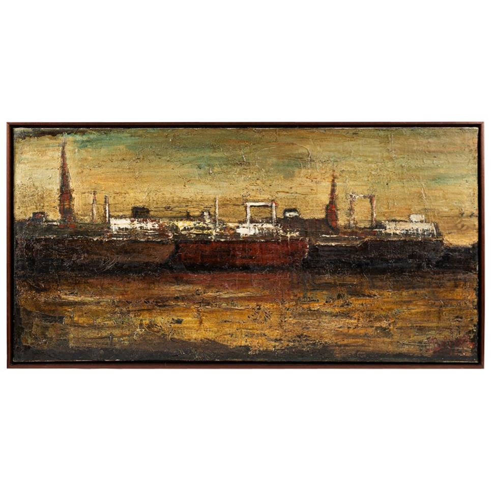 Oil Painting on Canvas Depicting the Port of Antwerp in Frame
