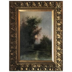 Oil Painting on Canvas, Moonlit Landscape with Trees and Lake, Signed P Stanford