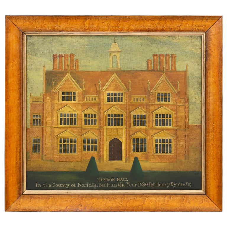 Oil Painting on Canvas of a 16th Century Building For Sale