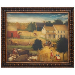 Oil Painting on Canvas of a Farm Scene