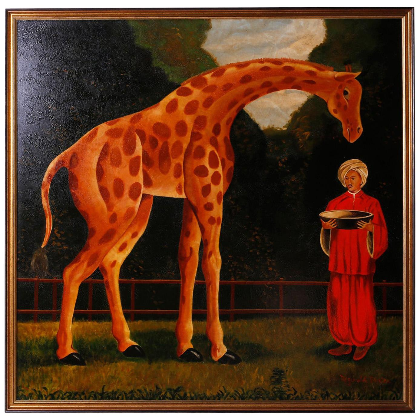 Oil Painting on Canvas of a Giraffe by Reginald Baxter