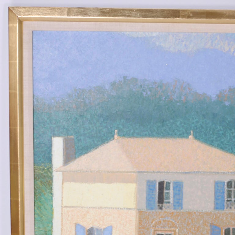 Oil painting on canvas depicting a lake house and boat with a reference to the French poem