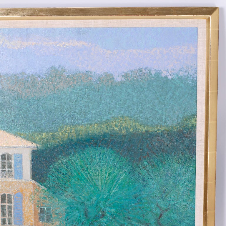 Folk Art Oil Painting on Canvas of a Lake House For Sale