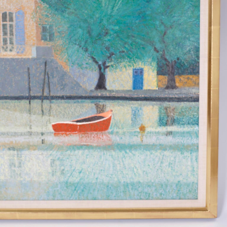 French Oil Painting on Canvas of a Lake House For Sale