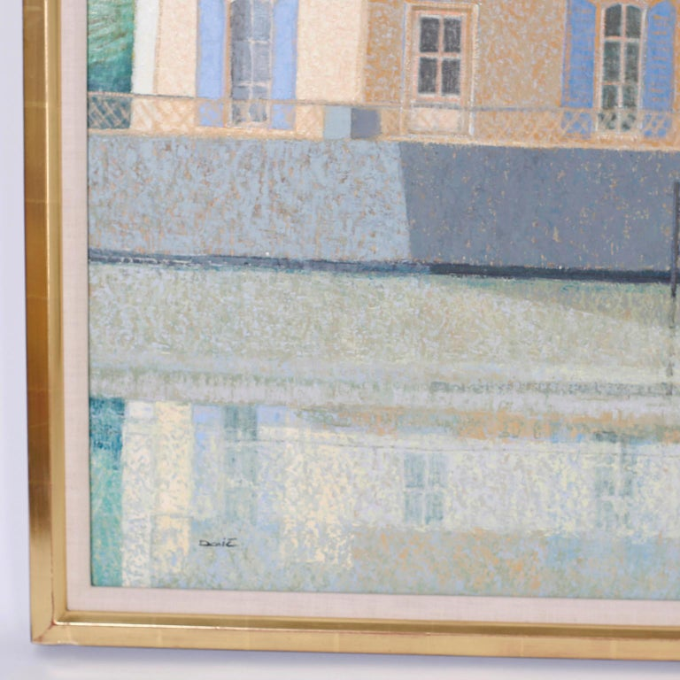 Oil Painting on Canvas of a Lake House In Good Condition For Sale In Palm Beach, FL