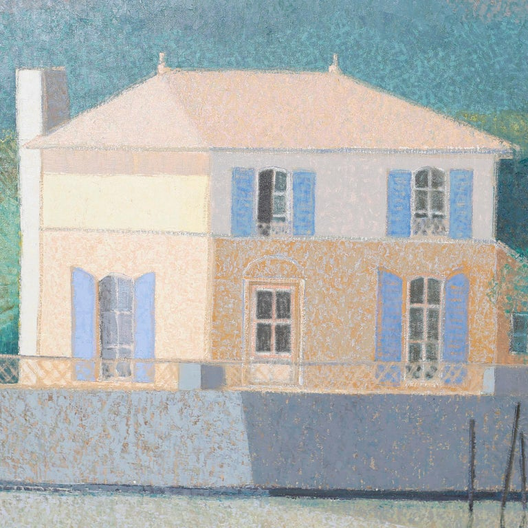 20th Century Oil Painting on Canvas of a Lake House For Sale