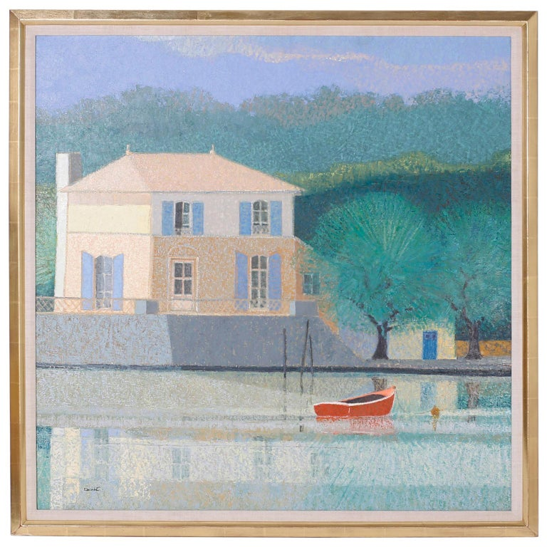 Oil Painting on Canvas of a Lake House For Sale