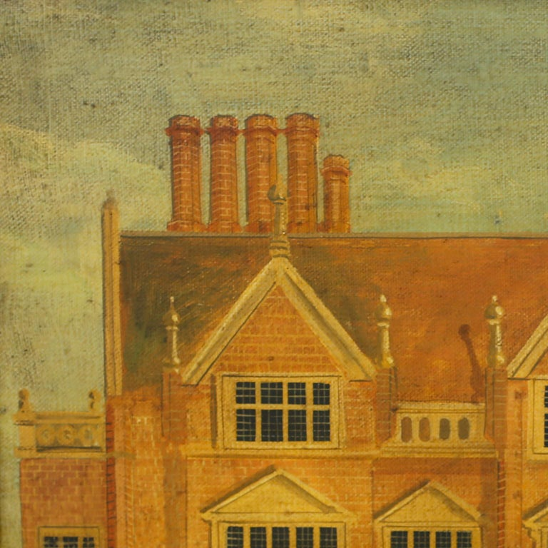 Architectural oil painting on canvas of Heydon Hall executed in a rustic naive style with contrived aging and presented in a maple frame. Signed Dan Dunton.