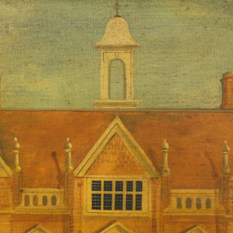 Folk Art Oil Painting on Canvas of a 16th Century Building For Sale