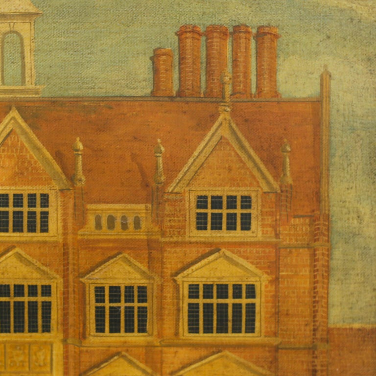 English Oil Painting on Canvas of a 16th Century Building For Sale