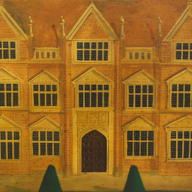 Oiled Oil Painting on Canvas of a 16th Century Building For Sale