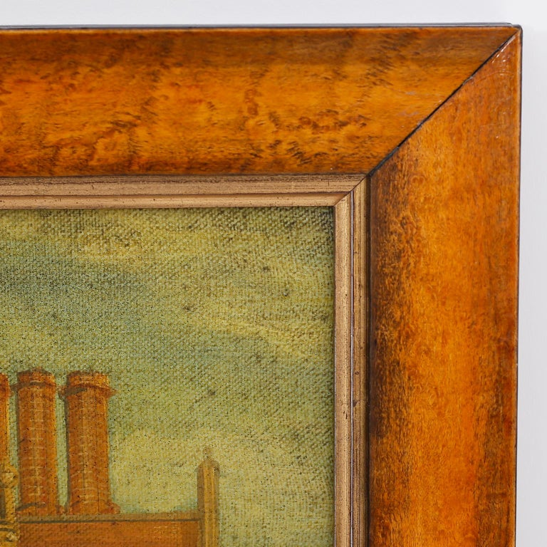 Oil Painting on Canvas of a 16th Century Building In Good Condition For Sale In Palm Beach, FL