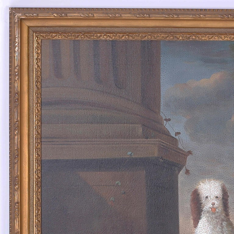 Charming oil painting on canvas of four spaniel dogs, playing in a classical courtyard under a bird's watchful eye. Expertly painted in the 18th century style of John Wootton with contrived aged and oxidized finish.