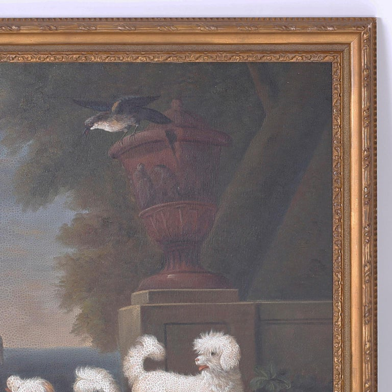 Georgian Oil Painting on Canvas of Four Dogs For Sale