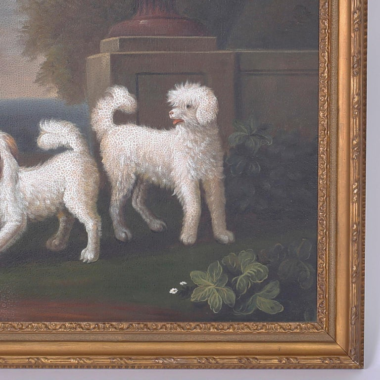 English Oil Painting on Canvas of Four Dogs For Sale